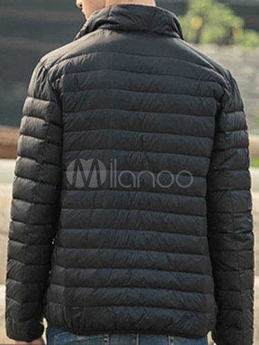 Buy Quilted Down Jacket Black Lightweight Men's Zip Up Padded Puffer Jacket For Winter for $39.99 in Milanoo store