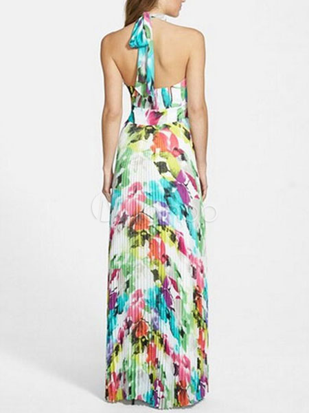49d0b6e9a0339c Hot Sale Maxi Dress With Floral Print Backless Long Beach Dresses For Women- No.
