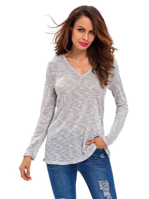 Women's Pullover Sweater Light Gray Long Sleeve V Neck Knit Hooded Top