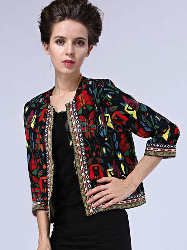 28d875be3b5 ... 3 4 de manga casaco curto floral feminino bordado jaqueta frente aberta  étnica-No