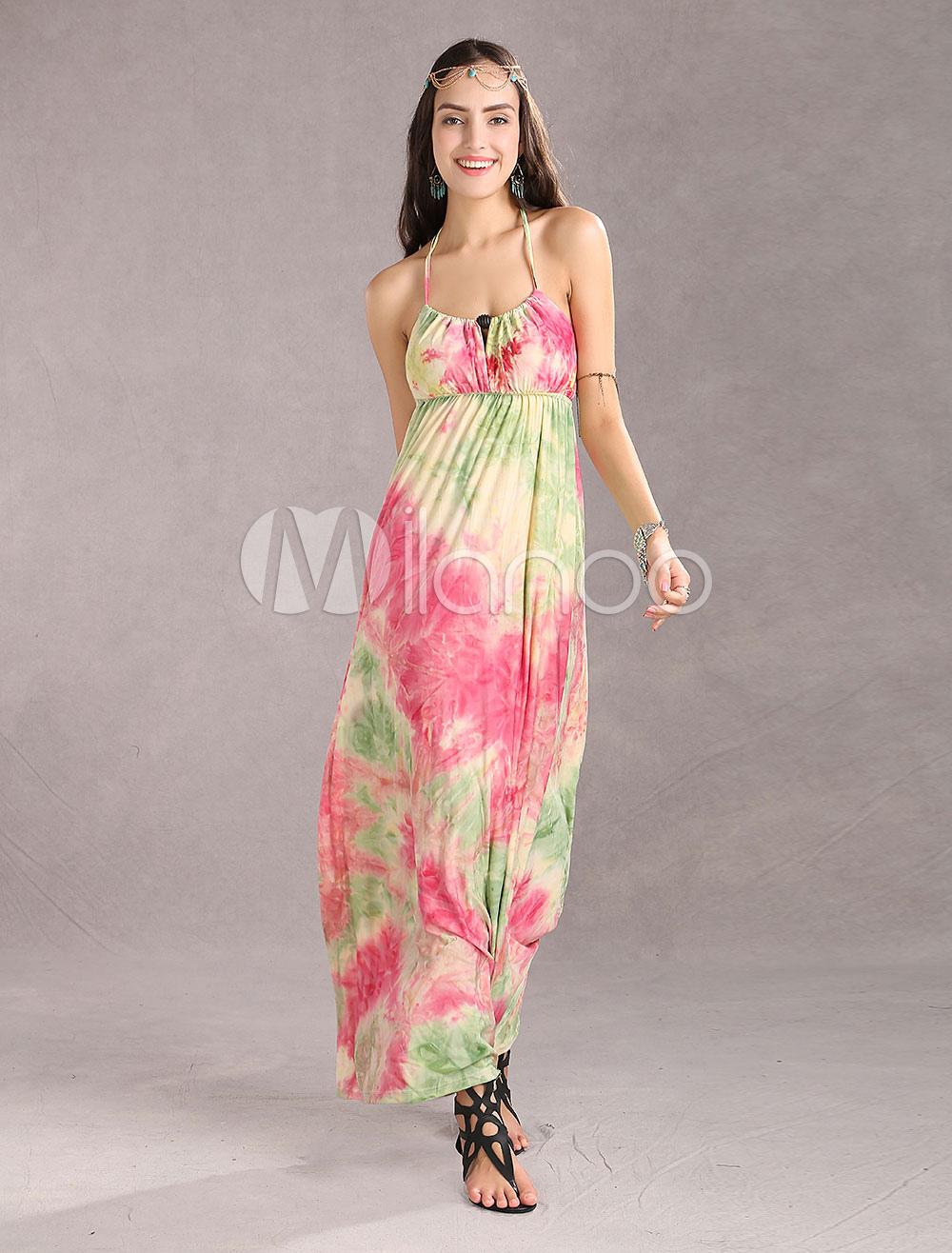 Beautiful Blue Straps Neck Floral Chiffon Womens Maxi Dress
