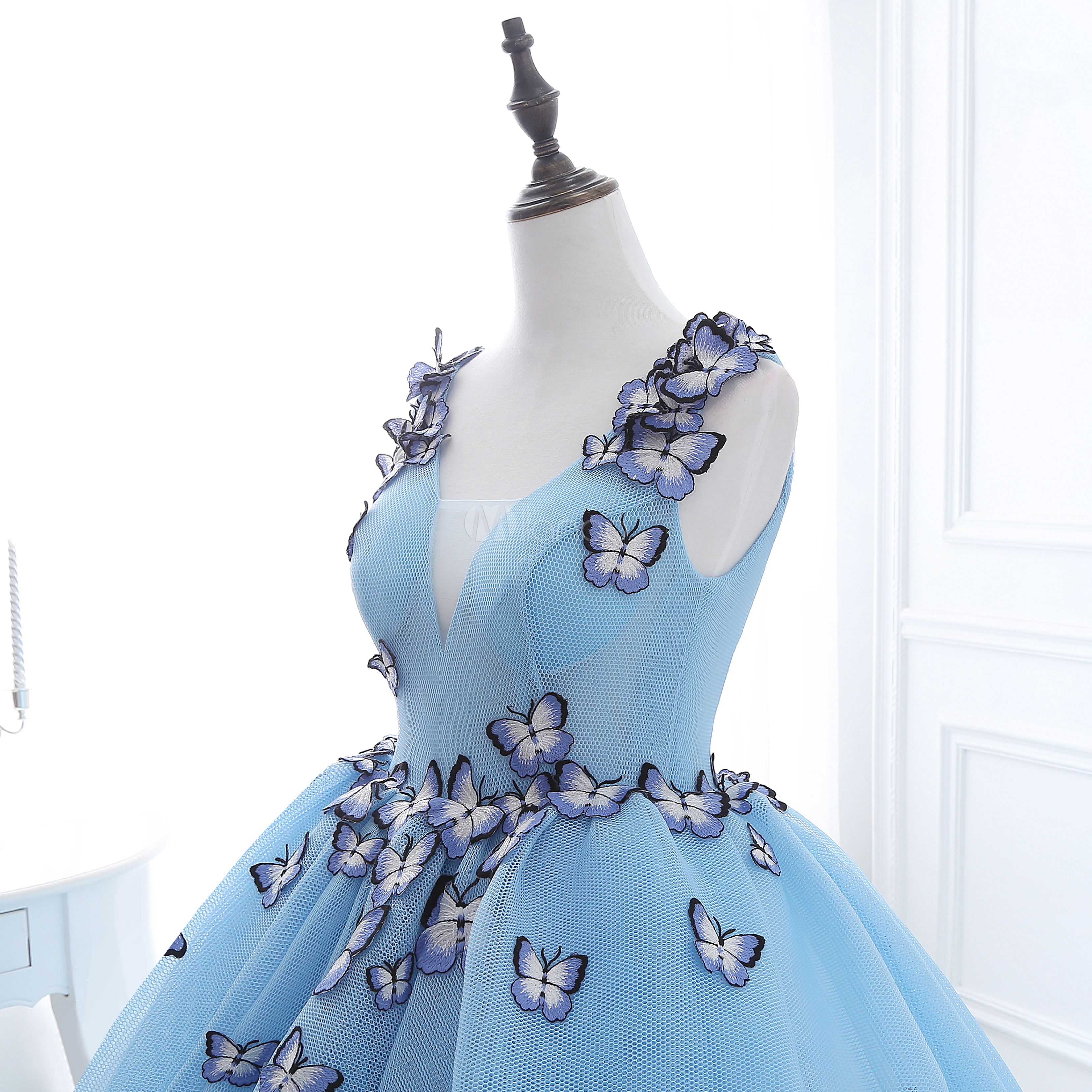 Baby Blue Quinceanera Dresses Princess Illusion Butterfly Beading