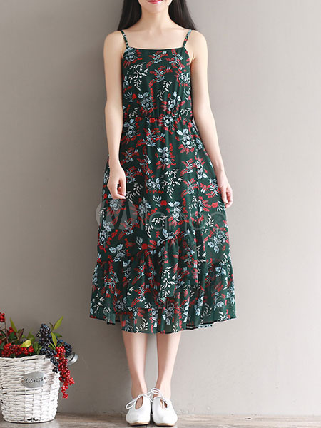 Buy Chiffon Long Dress Green Strappy Sleeveless Floral Printed Ruffle Summer Dress for $28.49 in Milanoo store