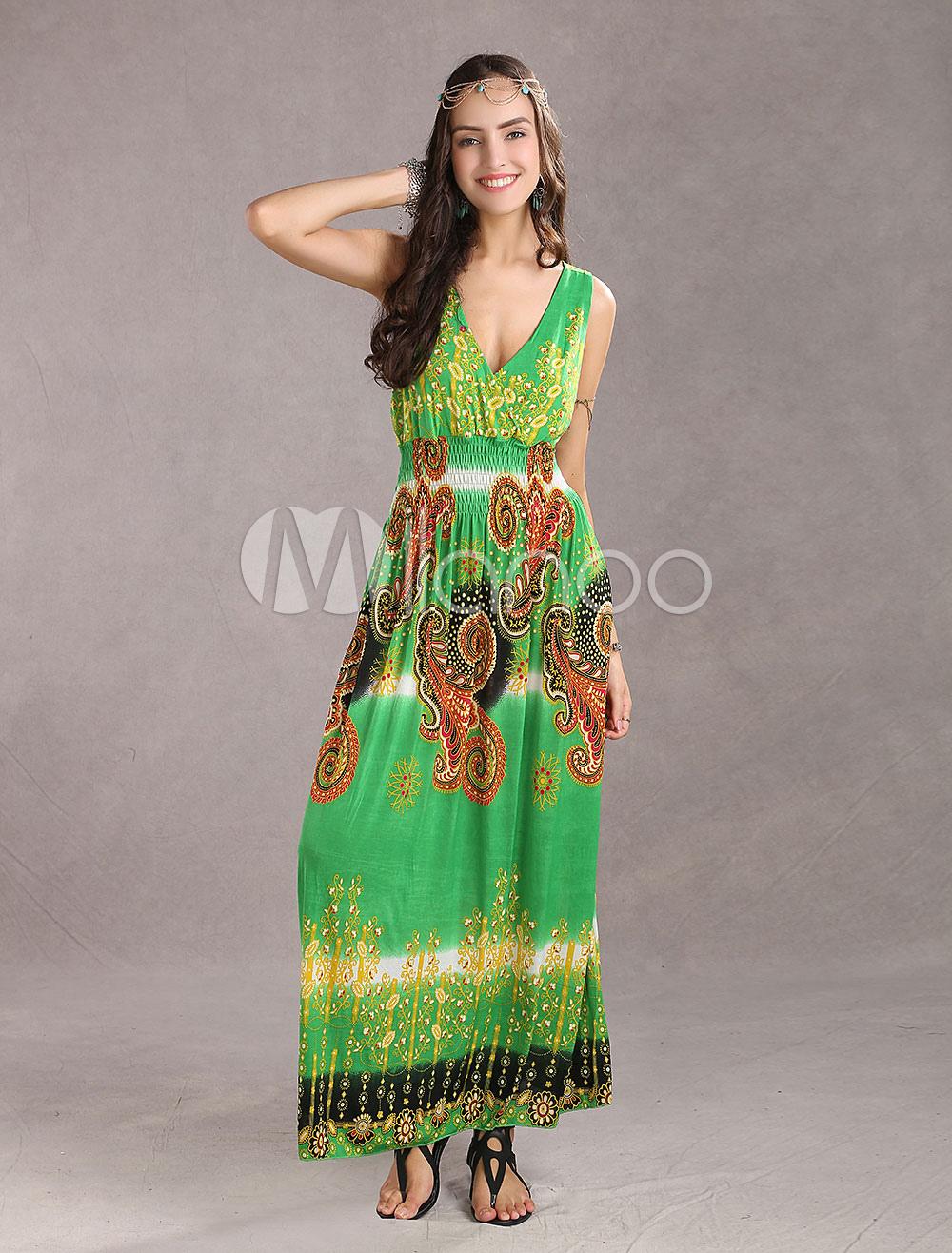 Trendy Green Meryl Deep Plunging Necklines Sleeveless Floral Ladies Maxi Dress