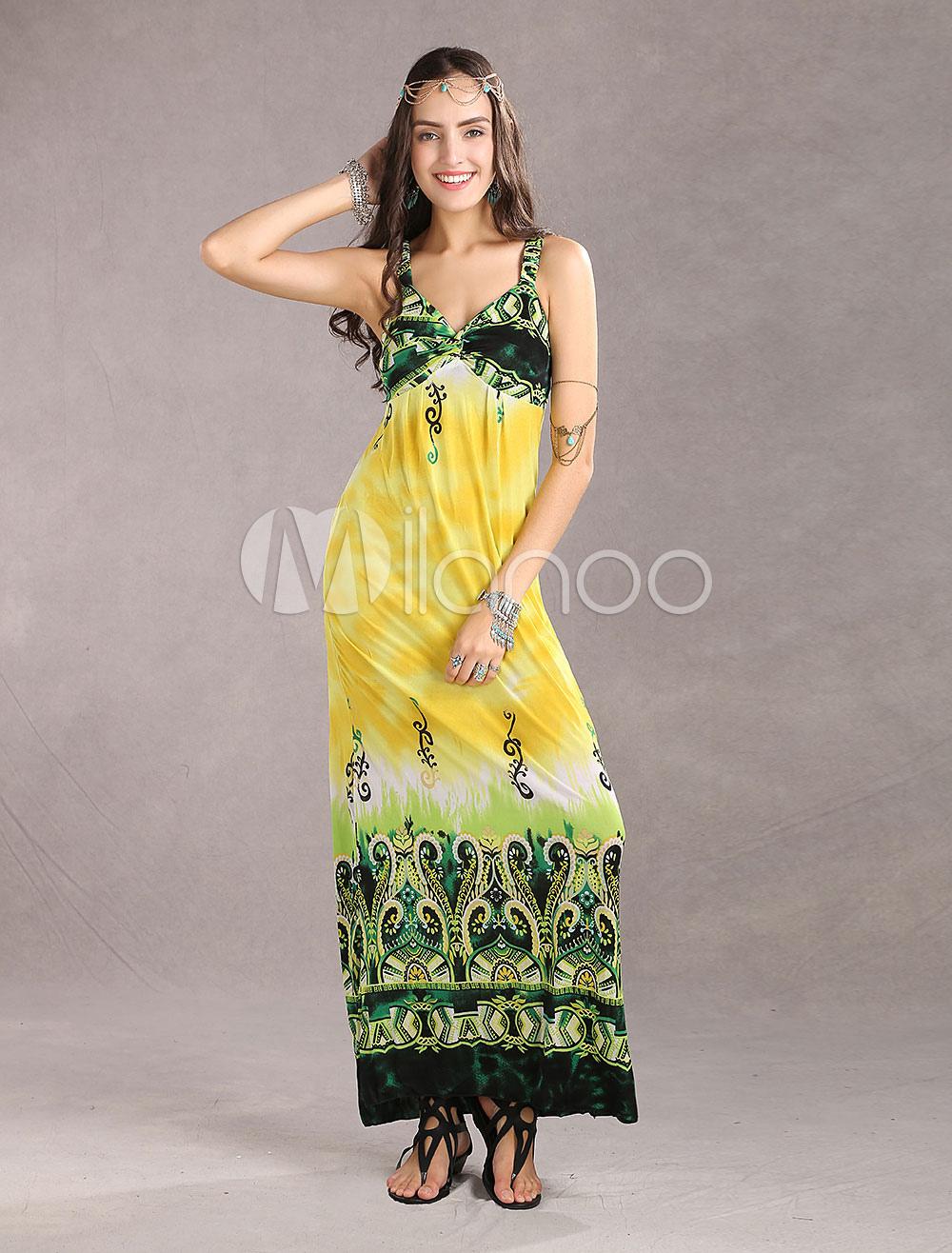 Graceful Yellow Meryl Spaghetti Floral Ladies Maxi Dress