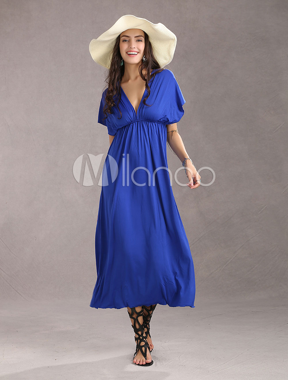 Elegant Sexy Deep V-Neck Rayon Womens Maxi Dress