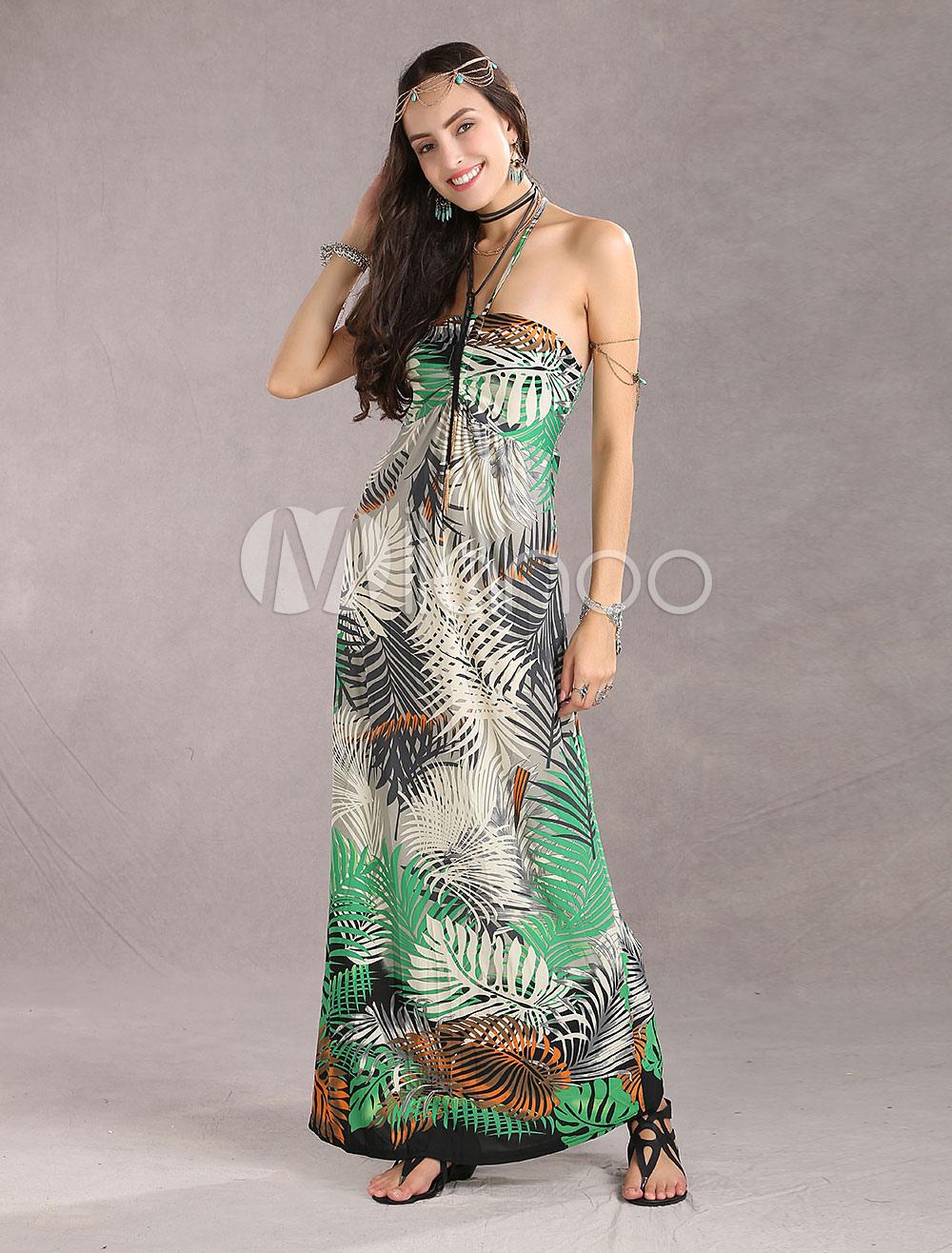 Bandeau Halter Leaf Print Rayon Womens Maxi Dress