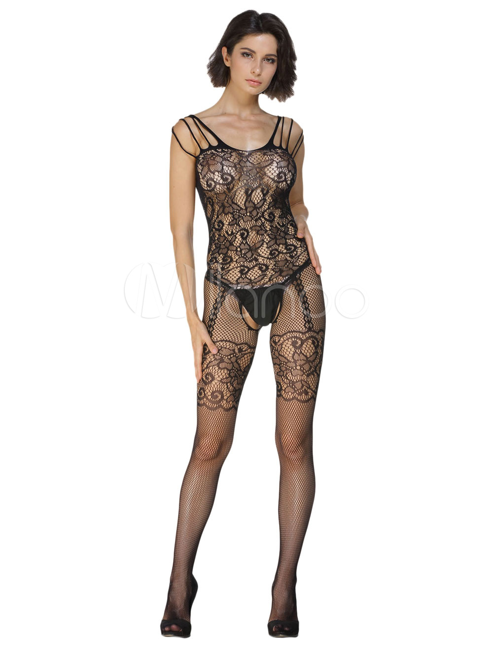Sheer Bodystockings With Fishnet