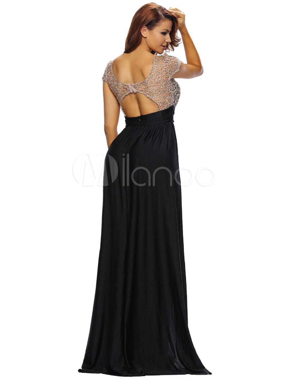 robe longue noir en polyester. Black Bedroom Furniture Sets. Home Design Ideas