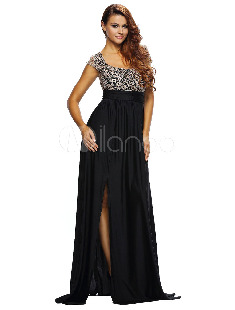 Buy Two-Tone Backless High-Spilt Polyester Maxi Dress for Women for $35.99 in Milanoo store