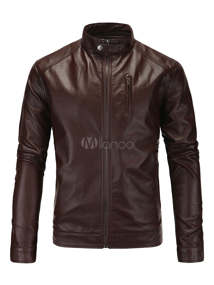 Wolverine Style Men's Casual Leather Jacket With Stand Collar In Black/Brown