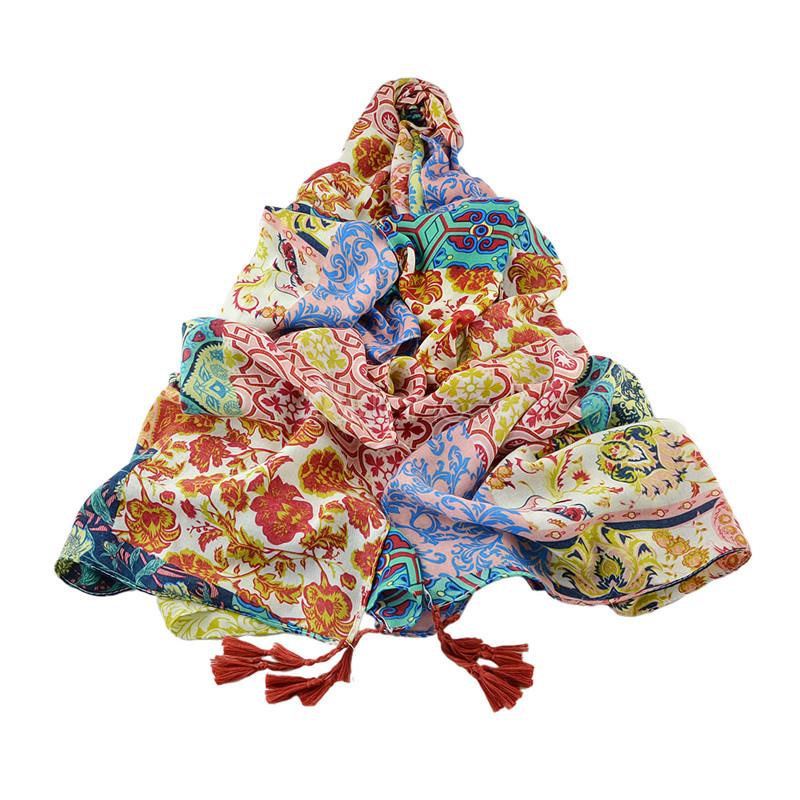 Floral Orange Scarf Voile Women's Tassels Printed Blanket Scarves