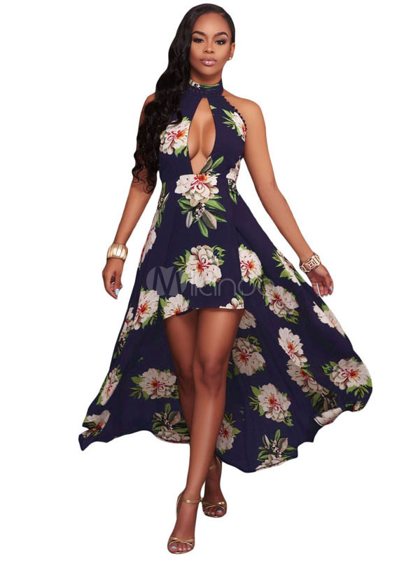 Buy Black Skater Dress Boho Floral Printed High Collar Backless Cut Out High Low Flare Dress for $24.56 in Milanoo store