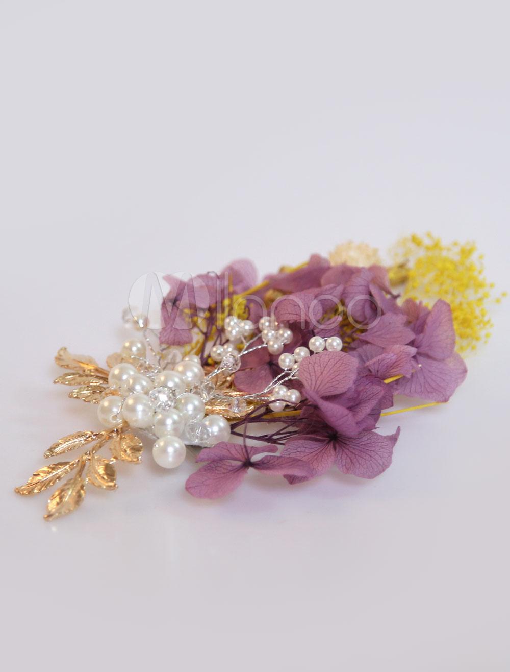 Buy Flower Wedding Headpieces Plum Pearls Leaf Bridal Hair Accessories for $9.99 in Milanoo store