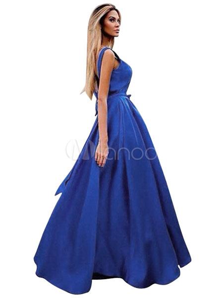 22ed0f9837338d8 Blue Maxi Платья без рукавов Backless лента лук женщин длинное летнее платье-No.1  ...