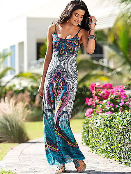 Buy Boho Maxi Dress Multicolor Strappy Sleeveless Printed Long Dress For Women for $39.99 in Milanoo store