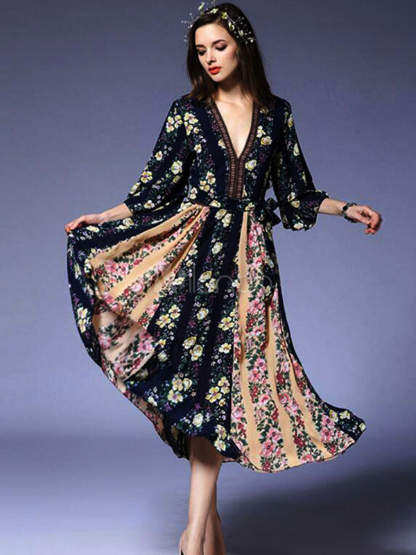 Buy Bohemian Skater Dress Women's Floral Print Chiffon V Neck Summer Dress for $30.40 in Milanoo store