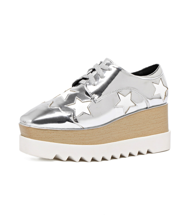 Women Oxfords 2018 Silver Platform Star Pattern Wedge Sneakers