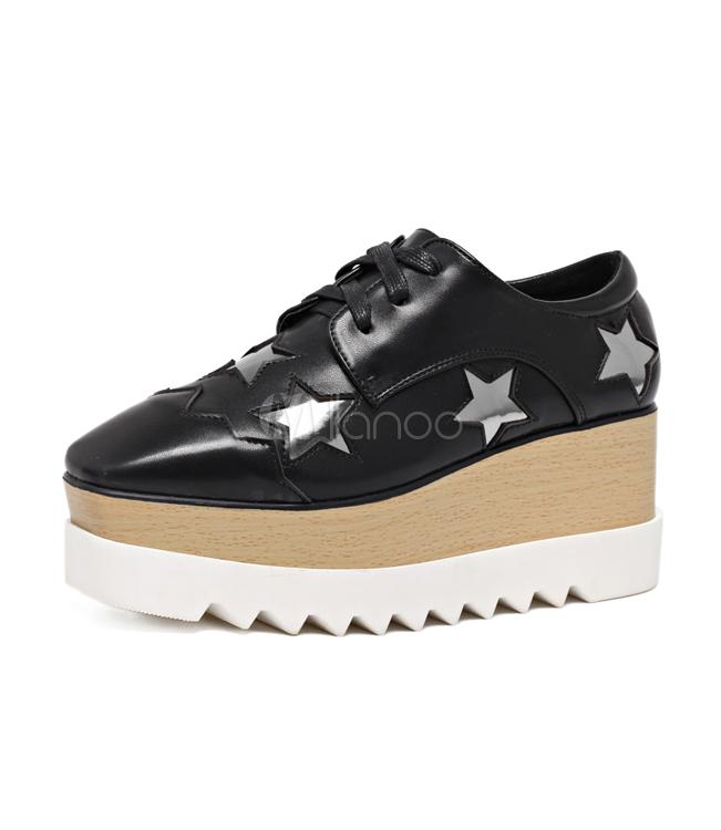 066b87b6c288 ... Women Oxfords 2019 Silver Platform Star Pattern Wedge Sneakers-No.2 ...