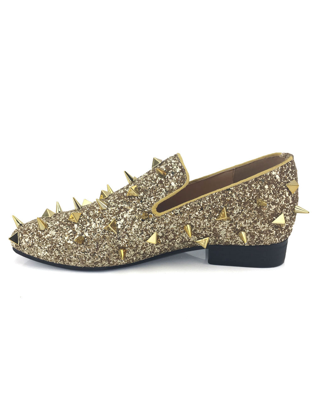Gold Sequined Men Loafers Metallic Slip On Spike Shoes Party Shoes