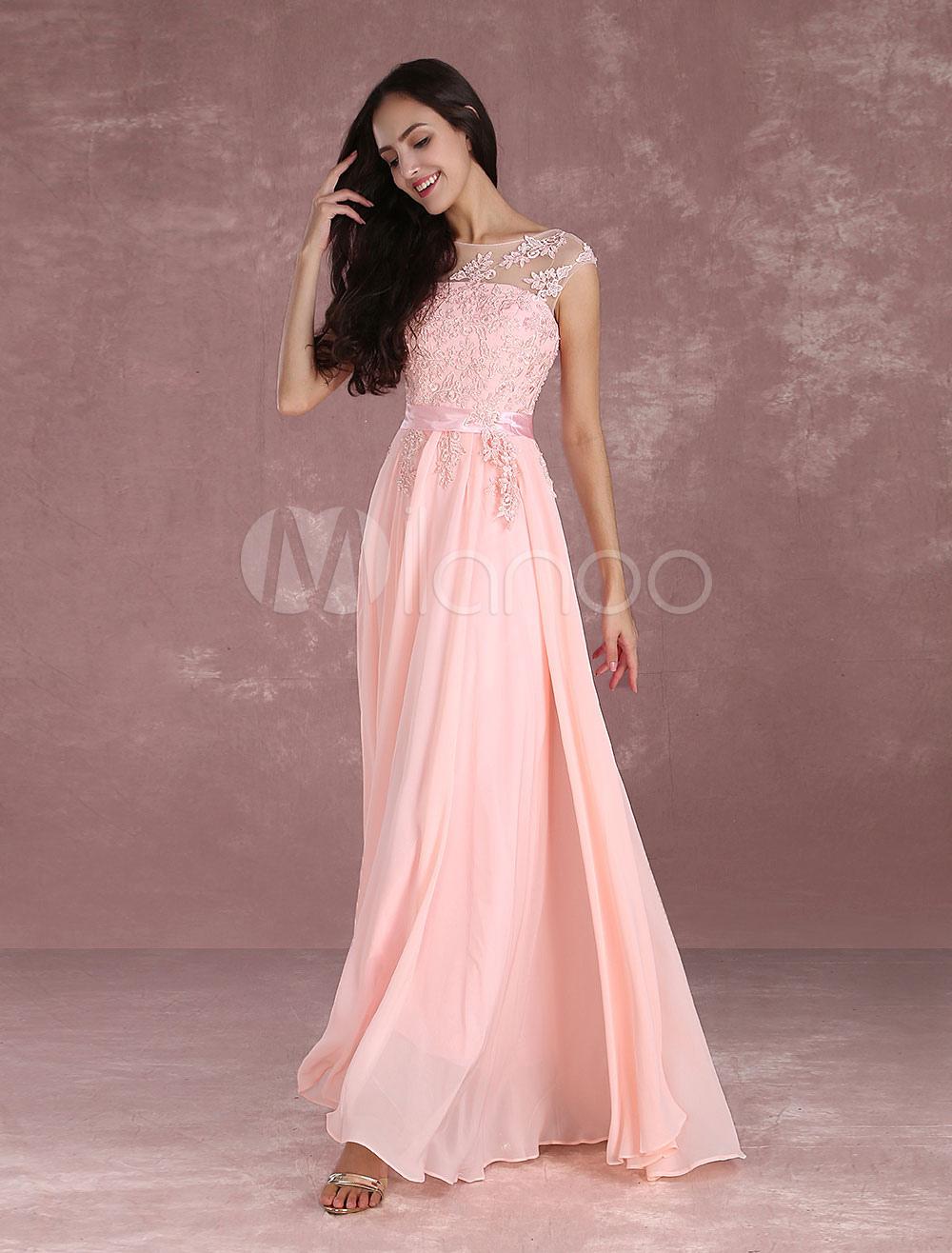 Vestido de Baile de chifón de color nude con escote redondo De banda ...