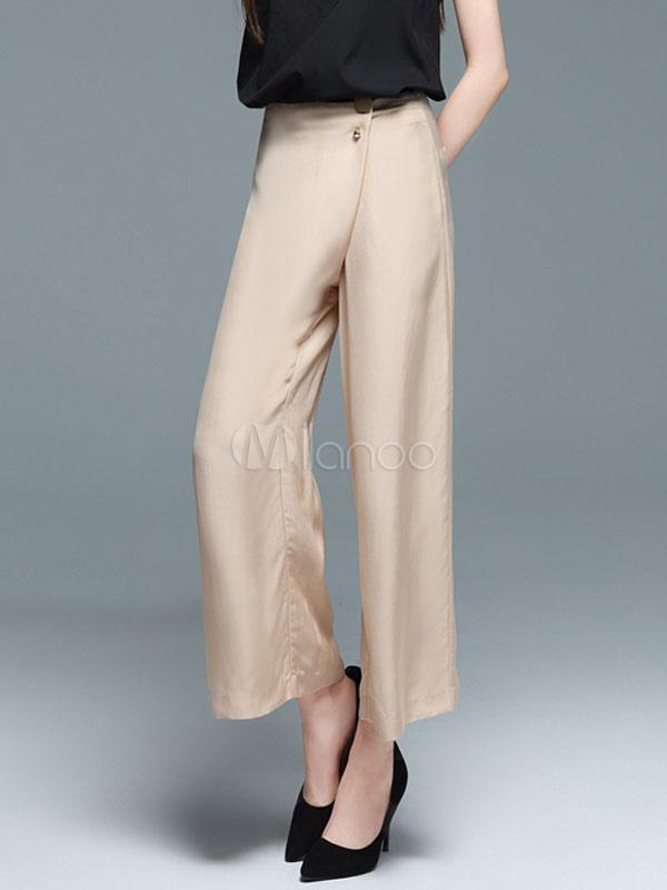 4bec278a8f ... Wide Leg Pants High Rise Cotton Linen Button Decor Loose Women's Khaki  Cropped Pants- ...