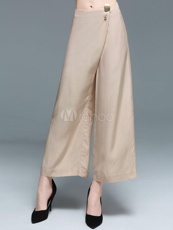 301d0b38a5 Wide Leg Pants High Rise Cotton Linen Button Decor Loose Women's Khaki  Cropped Pants- ...
