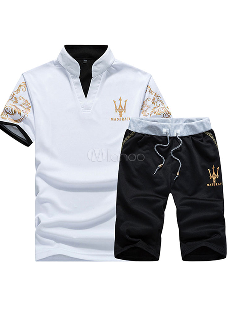White Sports Suits Men's Printed Short Sleeve T Shirt And Shorts Track Suit