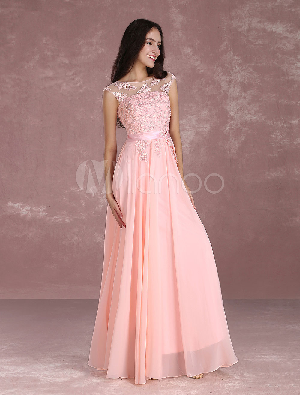 Nude Prom Dresses 2020 Long Chiffon Lace Beading Illusion Occasion Dress Sweatheart Floor Length Party Dress