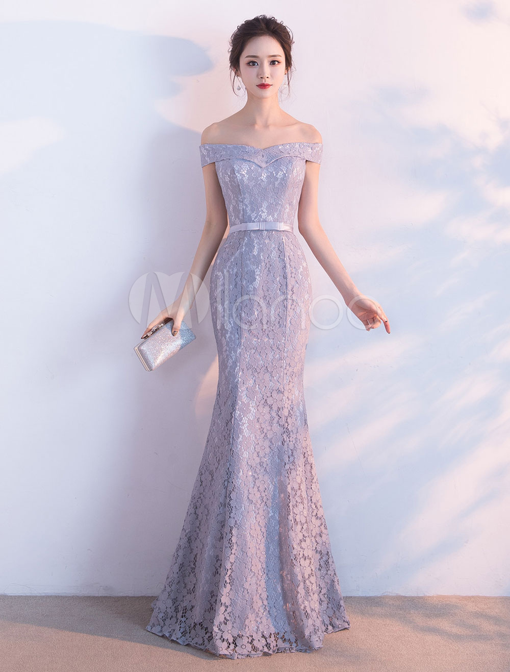 00a44da480cf ... Lace Evening Dress Mermaid Off The Shoulder Evening Gowns Light Grey  Sash Maxi Formal Dress-. 1. 60%OFF. Color: AddThis Sharing Buttons