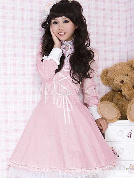 Buy Rococo Lolita OP One Piece Dress Stand Collar Puff Sleeve Two Tone Bows Ruffles Frills Pleated Black Lolita Dresses for $62.99 in Milanoo store