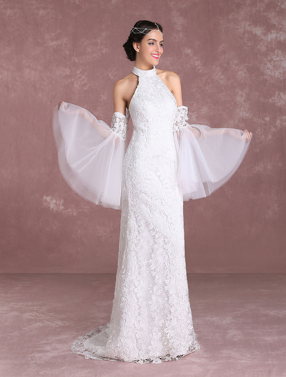 Boho wedding dresses 2018 lace beach summer bridal dress halter boho wedding dresses 2018 lace beach summer bridal dress halter mermaid bell sleeve bridal gown with junglespirit Image collections
