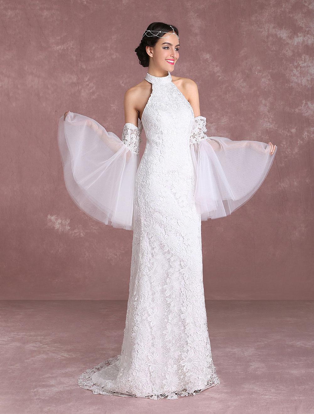 Estremamente Vestito da Sposa Boho Chic in raso avorio Mit Schleppe a sirena  LE12
