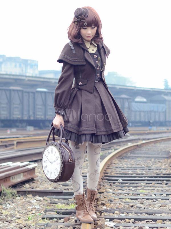 Steampunk Lolita Dress Engineering Trainees OP Turndown Collar Pleated Deep Brown Lolita One Piece Dress