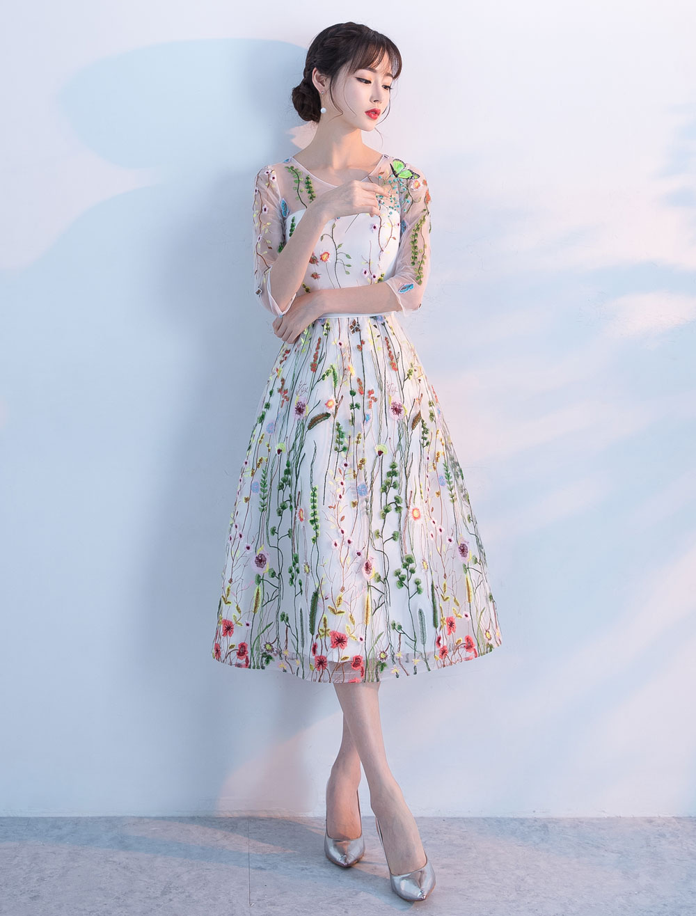 Buy Lace Prom Dresses 2018 Short Floral Print Cocktail Dress Illusion Half Sleeve Tea Length Party Dress for $114.39 in Milanoo store