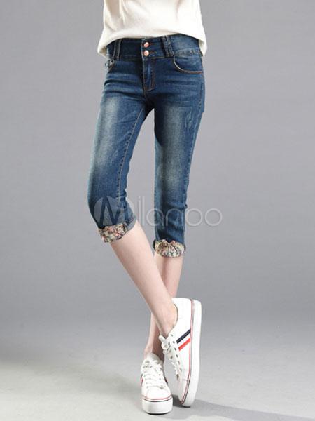 051c2cc184ad2 Pantalones cortos de mezclilla para mujer Botones azules Decoración Cuffed  Diseño Skinny Capri Jeans-No ...