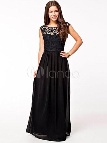 Ivory Maxi Dress Chiffon Sleeveless Lace Hollow Out Illusion Women's Summer Long Dresses