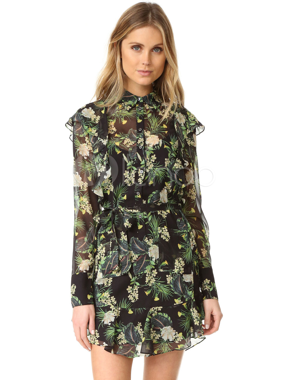 Buy Black Skater Dress Turndown Collar Long Sleeve Floral Printed Slim Fit Flare Dress for $24.99 in Milanoo store
