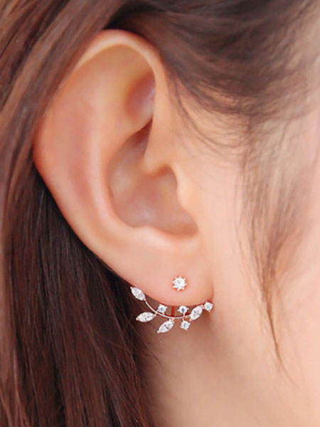 Women's Stud Earrings Crystal Leaf Sweet Alloy Ear Pins