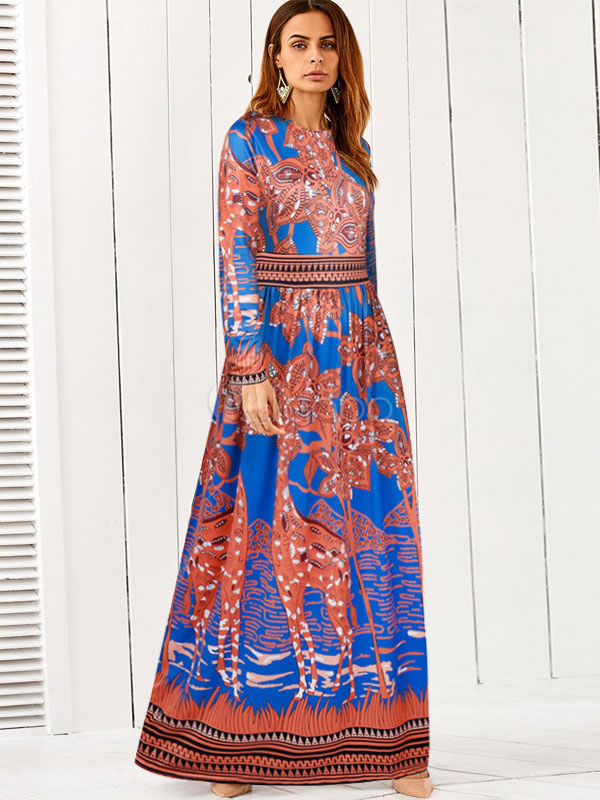 Boho Maxi Dress Long Sleeve Round Neck Printed Orange Red Women Dresses