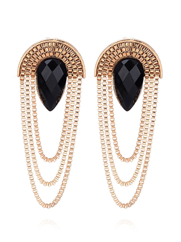 Buy Golden Stud Earrings Vintage Jeweled Egyptian Style Luxurious Alloy Ball Statement Ear Pins for $4.24 in Milanoo store