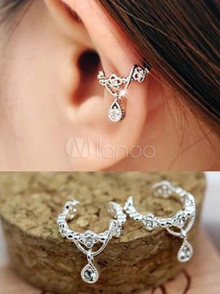 Women's Ear Cuff Rhinestones Dangling Chain Chic Alloy Ear Clip