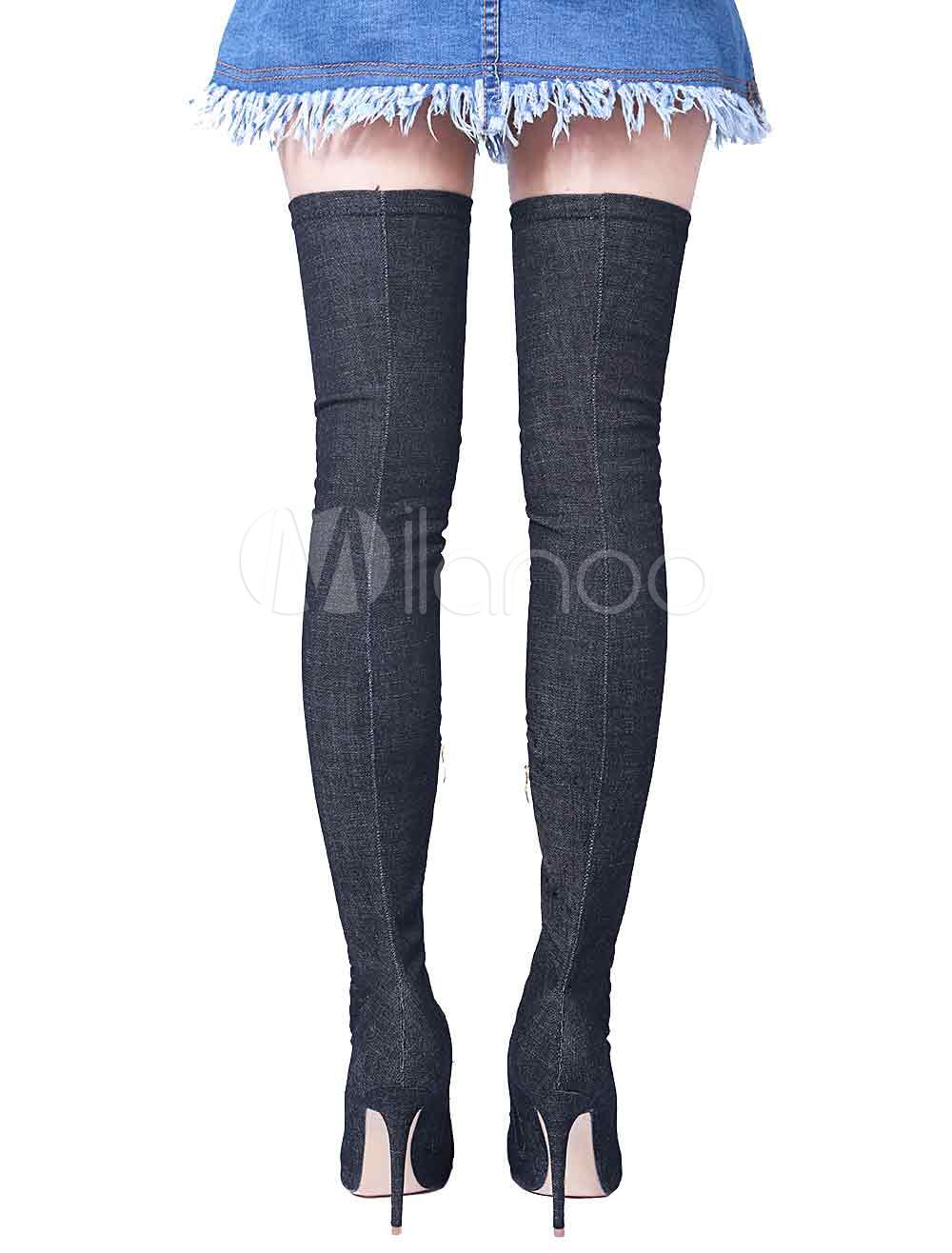 blue stretch bottes high heel femmes au dessus du genou bottes pointues de la cuisse. Black Bedroom Furniture Sets. Home Design Ideas