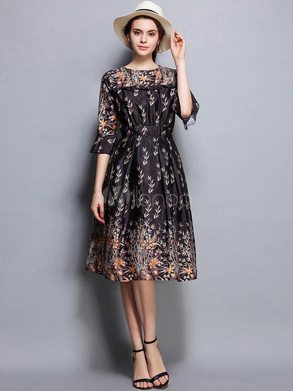 bc18032d96 Vestido preto floral de meia luva Ruffles de verão Seda feminina como  vestido de patinador impresso ...