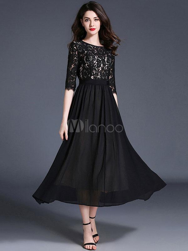 Black Maxi Dress Lace Chiffon Women's Half Sleeve Patchwork Long Dresses