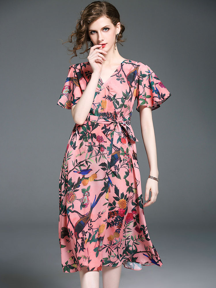 3da227b70e Pink Skater Dress V Neck Short Sleeve Floral Printed Bow Flare Dress-No.1  ...