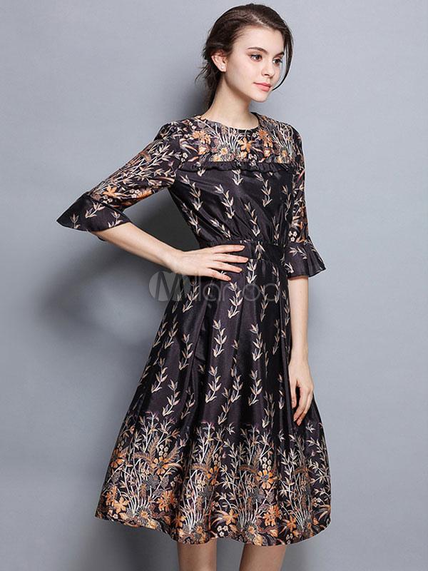 b5d0a78908 ... Vestido preto floral de meia luva Ruffles de verão Seda feminina como  vestido de patinador impresso ...