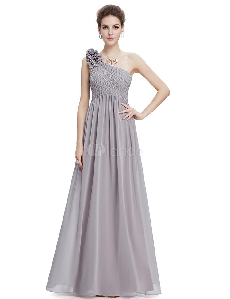 Lange Brautjungfer Kleid Chiffon Champagner eine Blume A ...