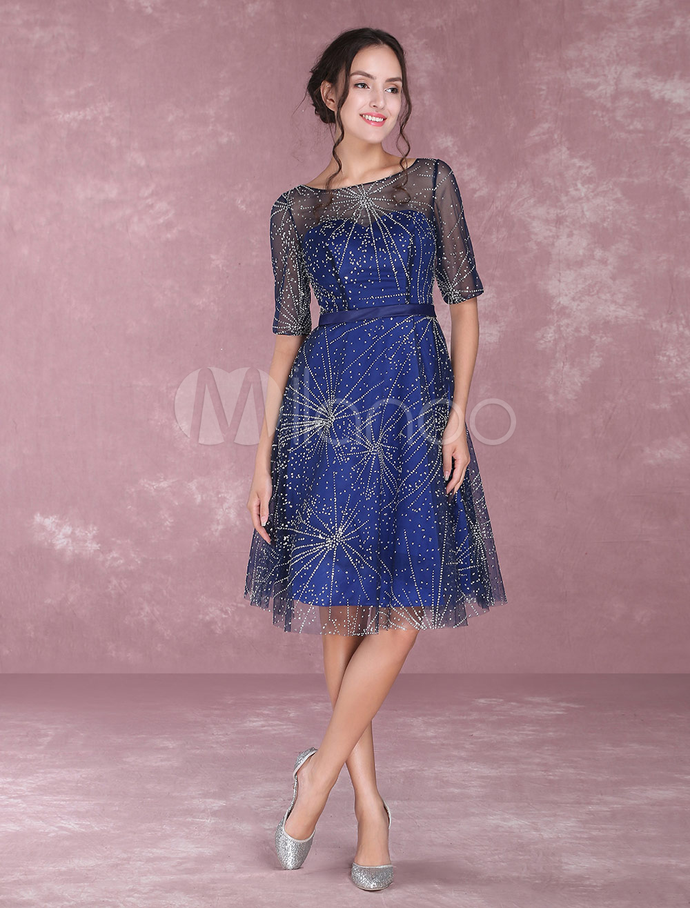 Buy Dark Navy Cocktail Dresses Half Sleeve Illusion Knee Length Wedding Guest Dresses for $84.49 in Milanoo store
