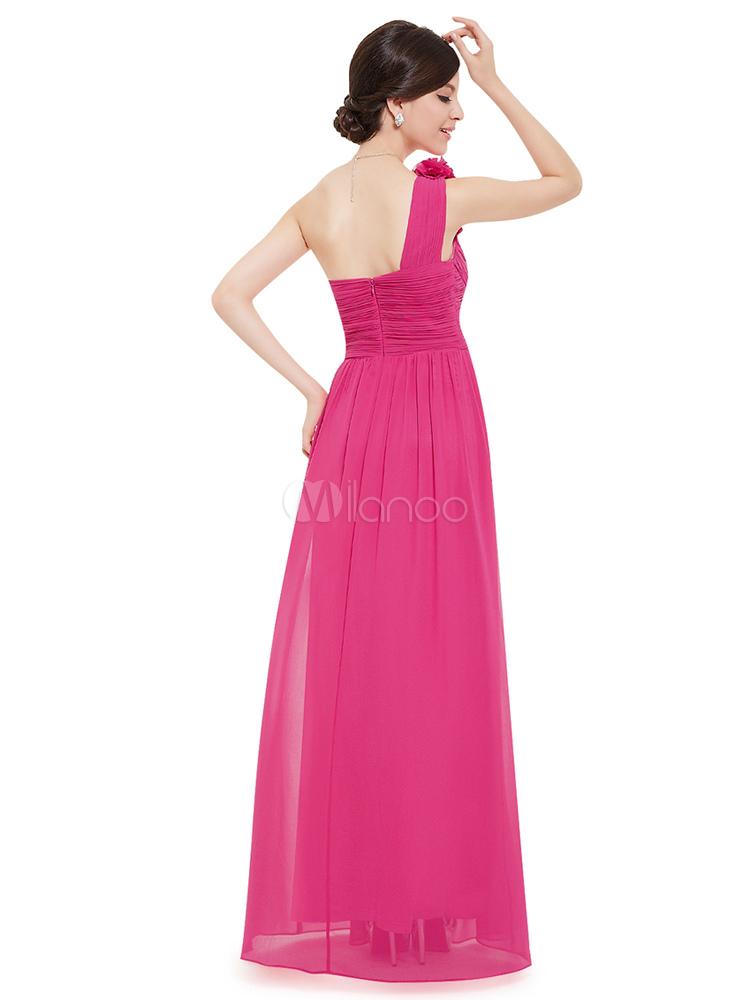 Largo de Dama de honor vestido gasa Champagne una flor A línea del ...